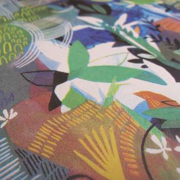 Ponds and Plants screen print detail 05 by Ashley Amery at Of Cabbages and Kings