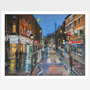 Rainy Night, Brick Lane full art print by Marc Gooderham available at Of Cabbages and Kings.