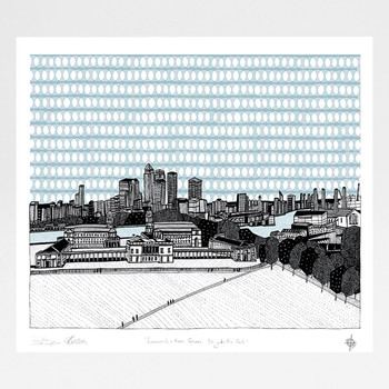 Greenwich - From The Wolfe Statue screen print by Cecily Vessey and Georgia Bosson at Of Cabbages and Kings