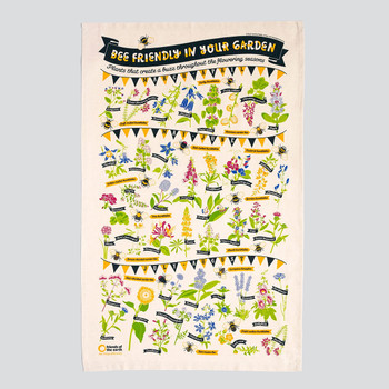 The Bee Friendly Tea Towel open by Stuart Gardiner at Of Cabbages and Kings