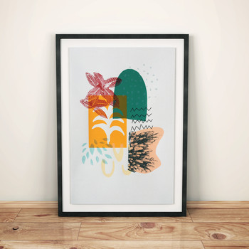 Moroccan Garden screen print framed lifestyle by Anna Schmidt available at Of Cabbages and Kings.