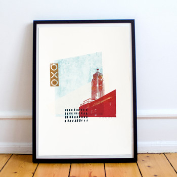 Oxo Tower screen print framed lifestyle by Anna Schmidt available at Of Cabbages and Kings.