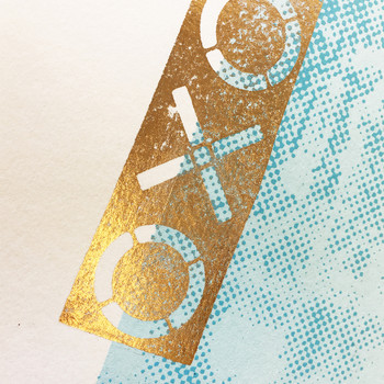Oxo Tower screen print gold foil detail by Anna Schmidt available at Of Cabbages and Kings.