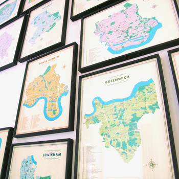 Hackney Retro Map Print with Nielsen Frame by Mike Hall at Of Cabbages and Kings.
