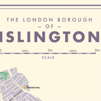 Islington Retro Map art print detail one by Mike Hall at Of Cabbages and Kings.
