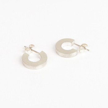 Solid silver Hoop earrings from the Béton range by Tom Pigeon, available at Of Cabbages and Kings.