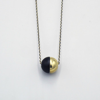 Equilibrium Sphere Necklace by Brass & Bold at Of Cabbages and Kings