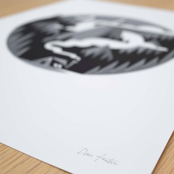 Hideaway screen print signature by The Lost Fox available at Of Cabbages and Kings.
