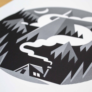 Hideaway screen print detail two by The Lost Fox available at Of Cabbages and Kings.