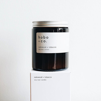 Oakwood + Tobacco Sustainable Scented Soy Wax Candle at Of Cabbages and Kings