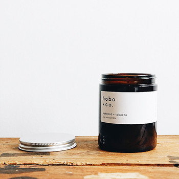 Oakwood + Tobacco Fragrance Soy Wax Candle at Of Cabbages and Kings