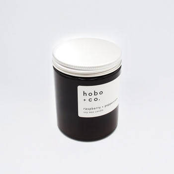 Raspberry + Peppercorn Sustainable Scented Soy Wax Candle by Hobo + Co at Of Cabbages and Kings