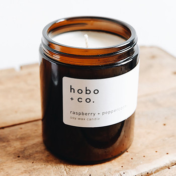 Raspberry + Peppercorn Fragrance Soy Wax Candle by Hobo + Co at Of Cabbages and Kings
