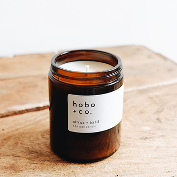 Citrus + Basil Medium Scented Soy Wax Candle at Of Cabbages and Kings