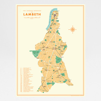 Lambeth Retro Map art print by Mike Hall at Of Cabbages and Kings.