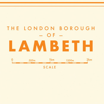 Lambeth Retro Map art print detail one by Mike Hall at Of Cabbages and Kings.
