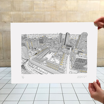 Barbican, London - Gold screen print with artist's hands by Will Clarke at Of Cabbages and Kings