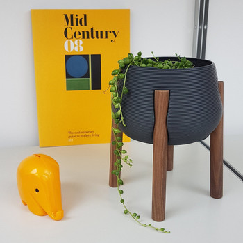 Dark Grey Tall Legged Planter mid-century by Studio Nilli at Of Cabbages and Kings