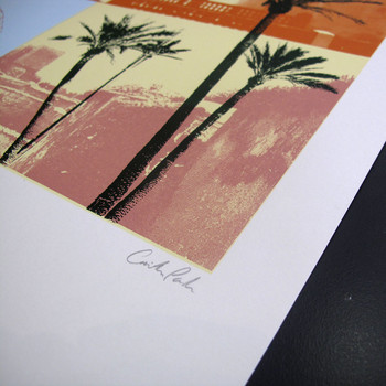 Moroccan Haze screen print signature detail by Caitlin Parks at Of Cabbages and Kings