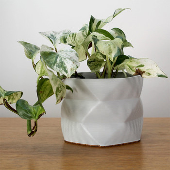 Large 3D Printed Geometric Planter white ivy by Studio Nilli at Of Cabbages and Kings