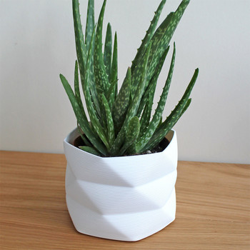 Large 3D Printed Geometric Planter white aloe by Studio Nilli at Of Cabbages and Kings