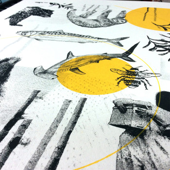 Ecotopia screen print detail by Underway Studio at Of Cabbages and Kings