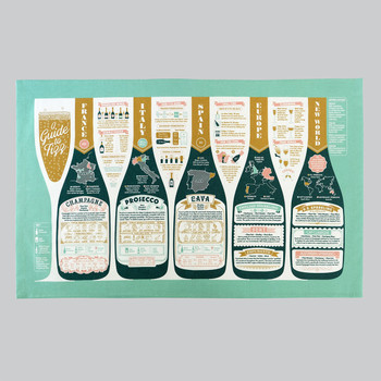 A Guide To Fizz Tea Towel open by Stuart Gardiner at Of Cabbages and Kings