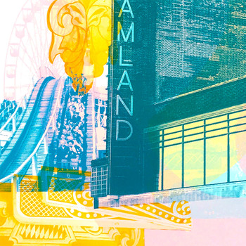 Dreamland, Margate screen print roller coaster detail by Melissa North at Of Cabbages and Kings