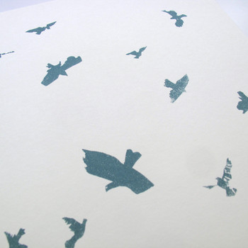 Flying Pigeons screen print detail 01 by Factory Press at Of Cabbages and Kings