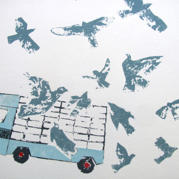 Flying Pigeons screen print detail 02 by Factory Press at Of Cabbages and Kings