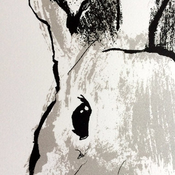 Wyatt Rabbit screen print detail by Tiff Howick at Of Cabbages and Kings