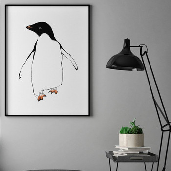 Penguin framed screen print by Tiff Howick at Of Cabbages and Kings