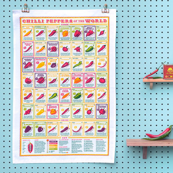 Chilli Peppers of the World Tea Towel lifestyle image by Stuart Gardiner at Of Cabbages & Kings