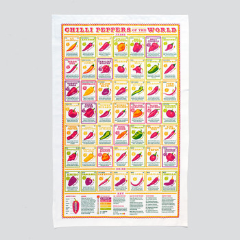 Chilli Peppers of the World Tea Towel full image by Stuart Gardiner at Of Cabbages & Kings