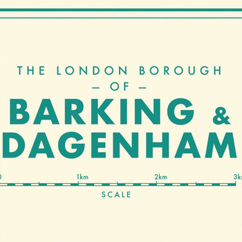 Barking and Dagenham Retro Map Print detail 01 by Mike Hall at Of Cabbages and Kings.