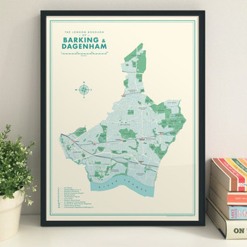 Barking and Dagenham Retro Map Print lifestyle by Mike Hall at Of Cabbages and Kings.