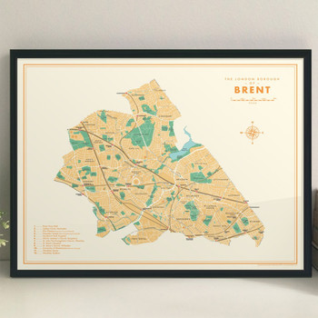 Brent Retro Map Print lifestyle by Mike Hall at Of Cabbages and Kings.
