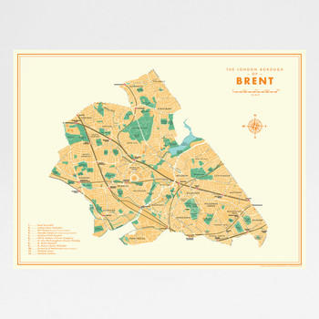 Brent Retro Map Print by Mike Hall at Of Cabbages and Kings.