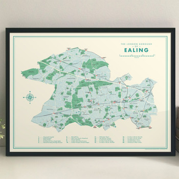 Ealing Retro Map Print lifestyle by Mike Hall at Of Cabbages and Kings.