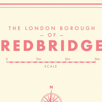 Redbridge Retro Map Print detail 01 by Mike Hall at Of Cabbages and Kings.