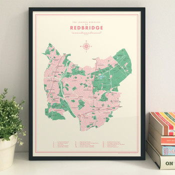 Redbridge Retro Map Print lifestyle by Mike Hall at Of Cabbages and Kings.