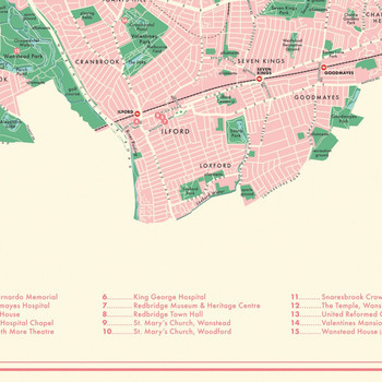 Redbridge Retro Map Print detail 09 by Mike Hall at Of Cabbages and Kings.