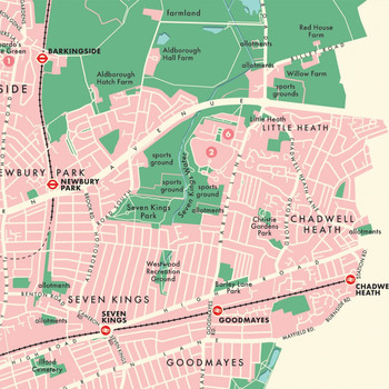 Redbridge Retro Map Print detail 05 by Mike Hall at Of Cabbages and Kings.