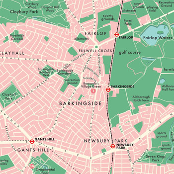 Redbridge Retro Map Print detail 07 by Mike Hall at Of Cabbages and Kings.