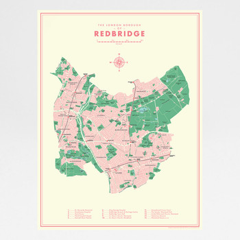 Redbridge Retro Map Print by Mike Hall at Of Cabbages and Kings.