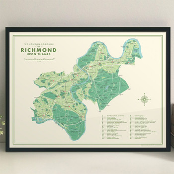 Richmond Upon Thames Retro Map Print lifestyle by Mike Hall at Of Cabbages and Kings.