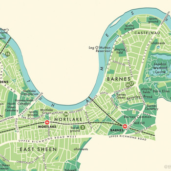 Richmond Upon Thames Retro Map Print detail 03 by Mike Hall at Of Cabbages and Kings.