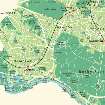 Richmond Upon Thames Retro Map Print detail 05 by Mike Hall at Of Cabbages and Kings.
