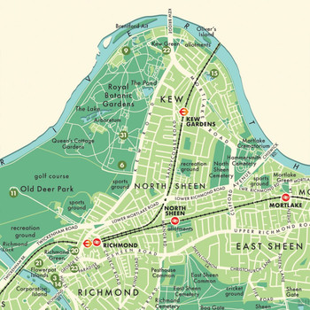 Richmond Upon Thames Retro Map Print detail 06 by Mike Hall at Of Cabbages and Kings.