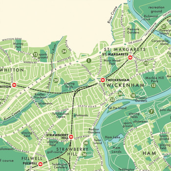 Richmond Upon Thames Retro Map Print detail 07 by Mike Hall at Of Cabbages and Kings.